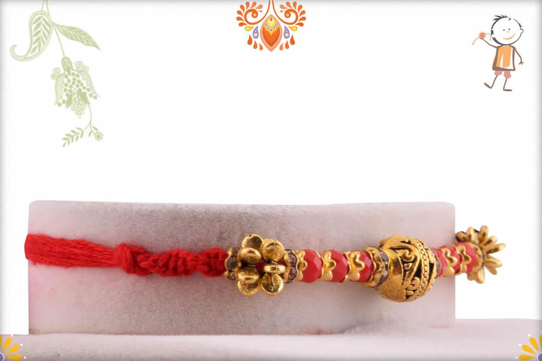 Antique Golden Bead Rakhi with Red Stone Beads | Send Rakhi Gifts Online 2
