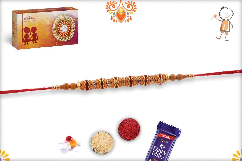 Simple Red Diamond Rings Rakhi wth Golden Beads | Send Rakhi Gifts Online 2