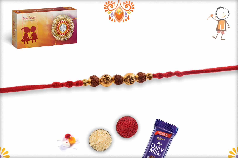 Golden OM Beads Rakhi with 3 Rudraksh   Send Rakhi Gifts Online 2