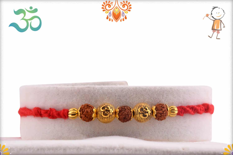 Golden OM Beads Rakhi with 3 Rudraksh   Send Rakhi Gifts Online 1