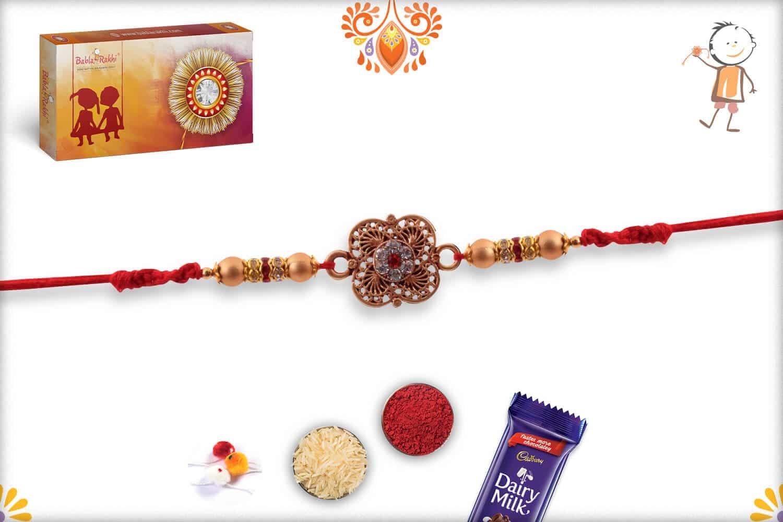 Designer Clover Shape Golden Rakhi with Diamonds 2