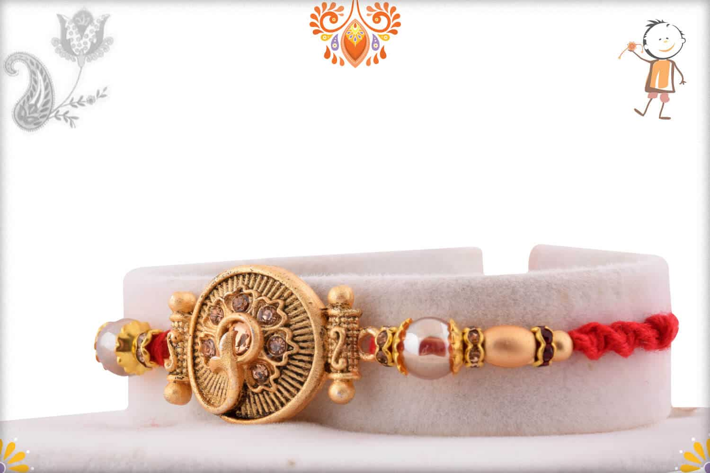 Unique Golden Rakhi with Beads | Send Rakhi Gifts Online 2
