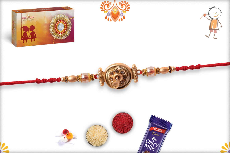 Unique Golden Rakhi with Beads | Send Rakhi Gifts Online 3