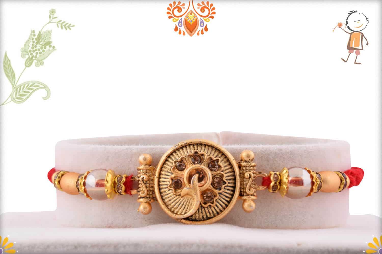 Unique Golden Rakhi with Beads | Send Rakhi Gifts Online 1