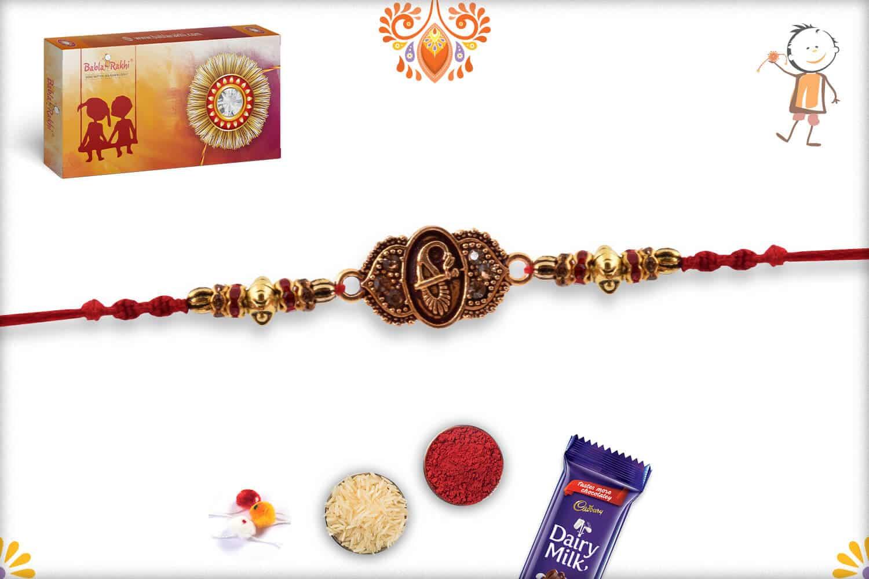 Designer Golden Rakhi with Diamond Rings | Send Rakhi Gifts Online 2