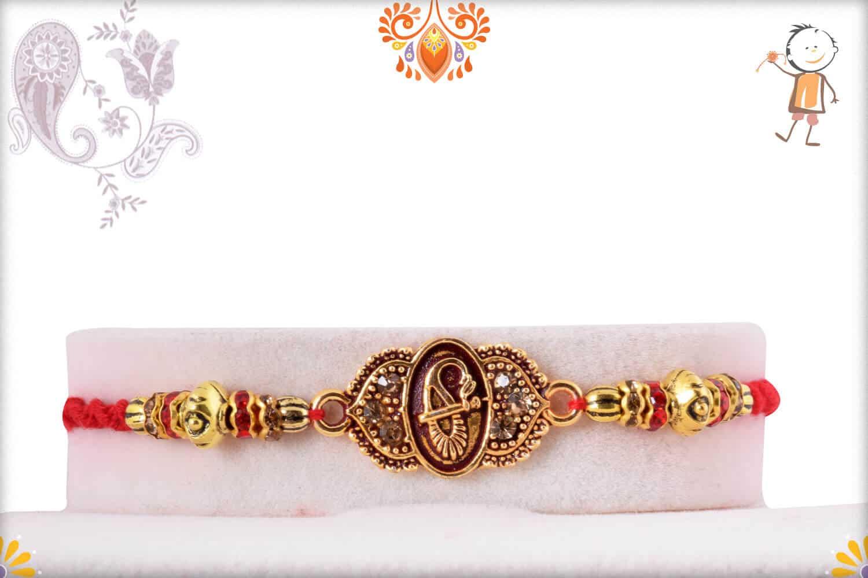 Designer Golden Rakhi with Diamond Rings | Send Rakhi Gifts Online 1