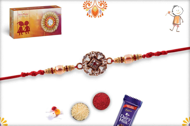 Designer Golden Diamond Rakhi with Beads 2