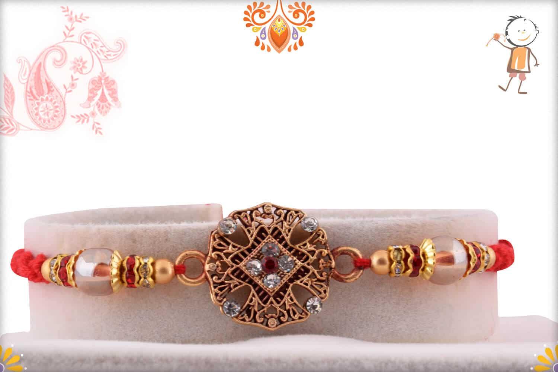 Designer Golden Diamond Rakhi with Beads 1