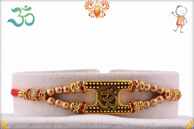 Auspicious OM Rakhi with Golden Beads 1