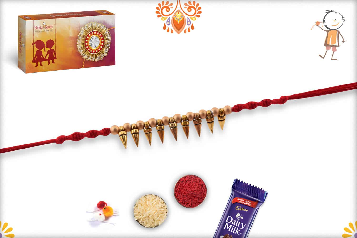 Golden Conical Beads Rakhi 2