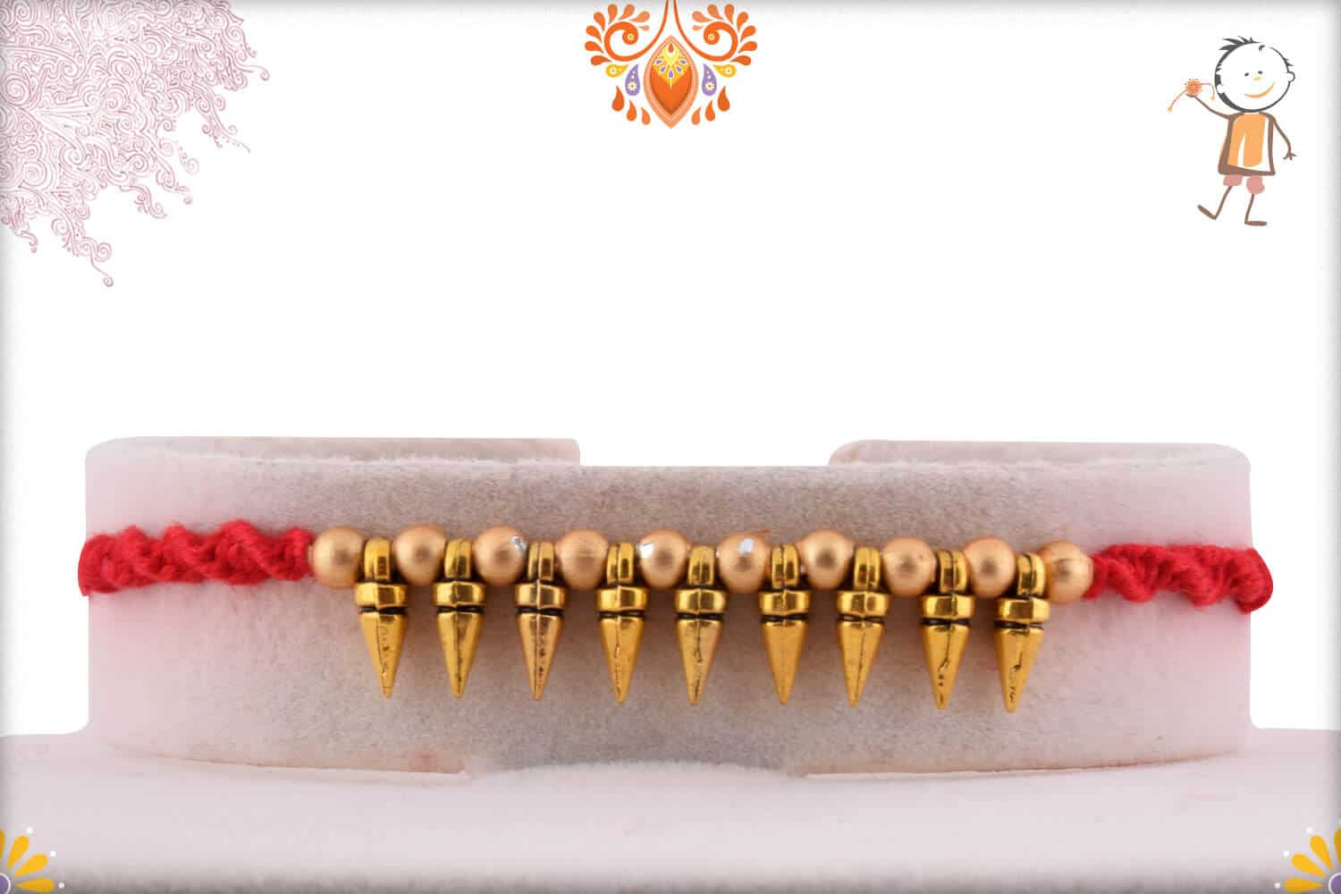 Golden Conical Beads Rakhi 1