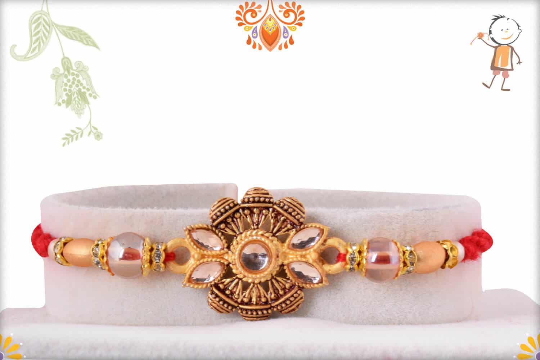 Unique Handcrafted Golden Rakhi with Beads | Send Rakhi Gifts Online 2