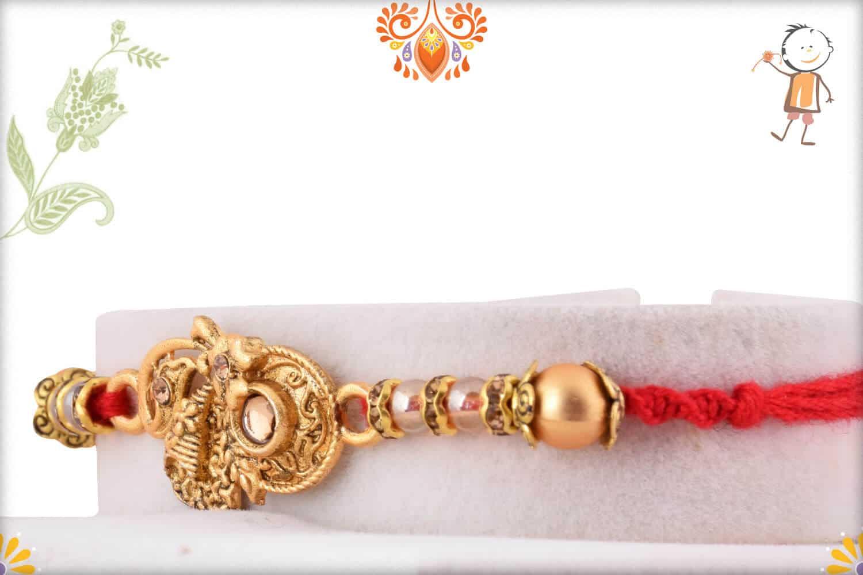 Unique Shape Golden Rakhi with Beads | Send Rakhi Gifts Online 2