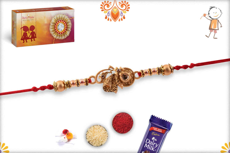 Unique Shape Golden Rakhi with Beads | Send Rakhi Gifts Online 3