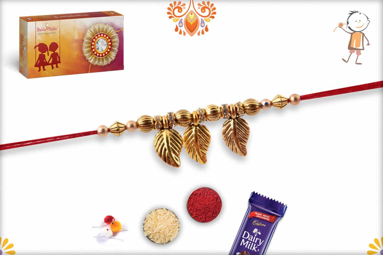 Golden Leaves Rakhi | Send Rakhi Gifts Online 2