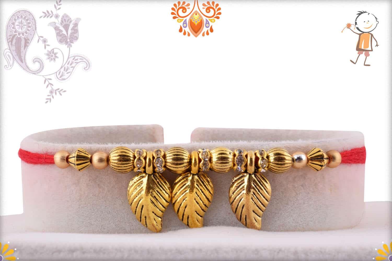 Golden Leaves Rakhi | Send Rakhi Gifts Online 1