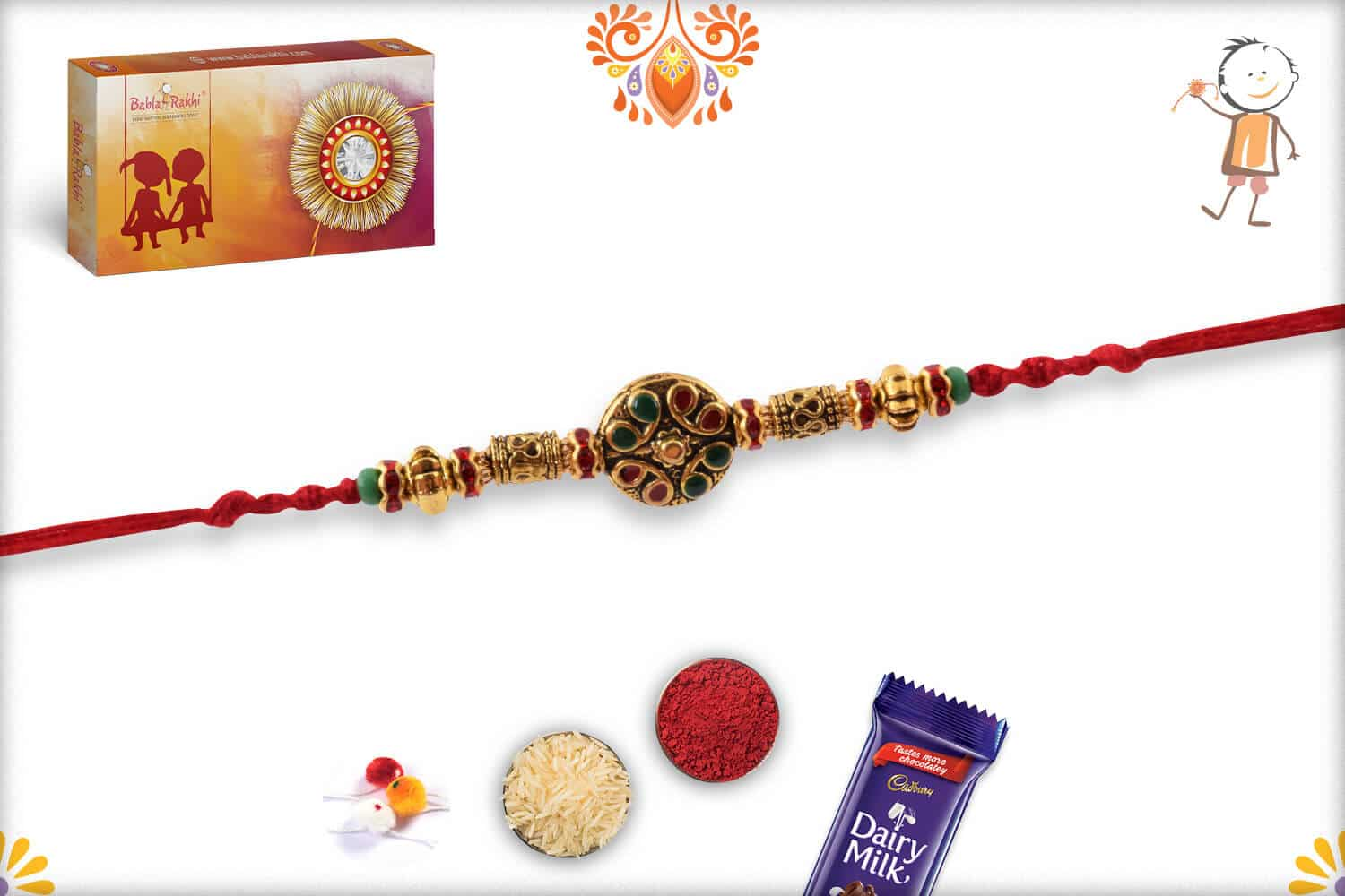 Golden Round Rakhi with Designer Beads 2
