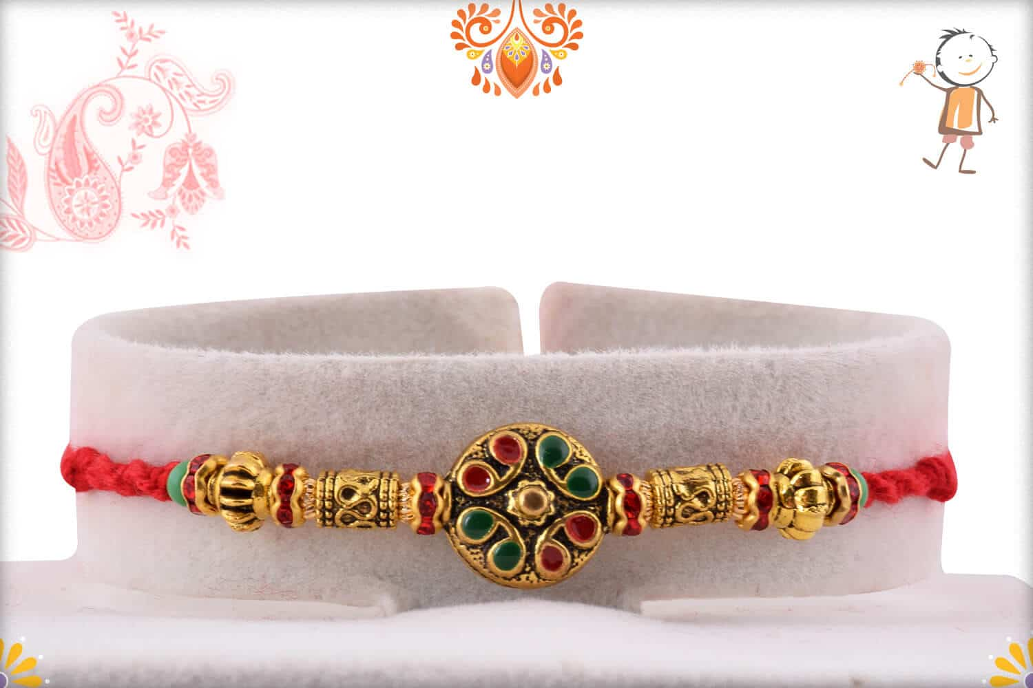 Golden Round Rakhi with Designer Beads 1