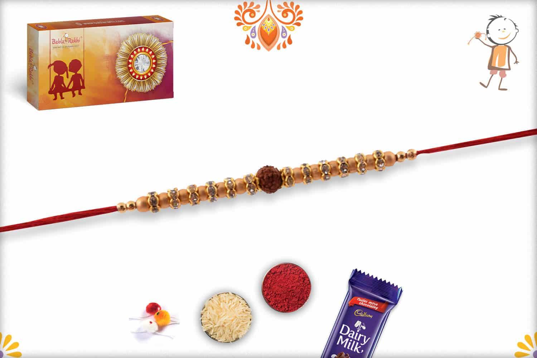 Golden Beads Rakhi with Rudraksh 2