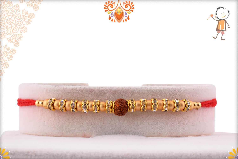 Golden Beads Rakhi with Rudraksh 1