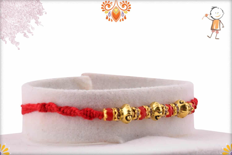 Designer Golden Beads Rakhi with Diamonds | Send Rakhi Gifts Online 2