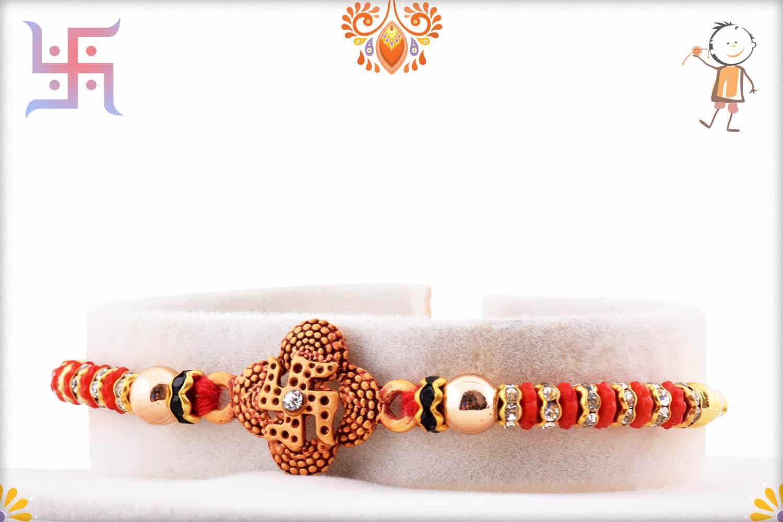 Quatrefoil Swastik Rakhi with Diamond Rings 2