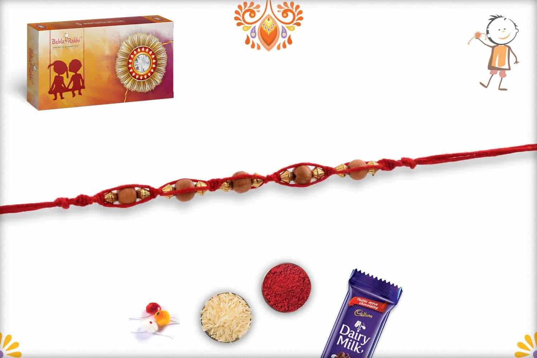 Uniquely Knotted Sandalwood and Golden Beads Rakhi 2