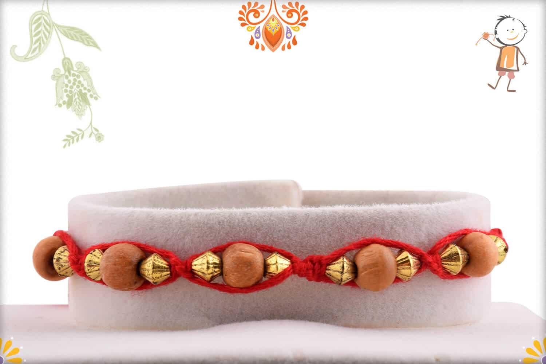 Uniquely Knotted Sandalwood and Golden Beads Rakhi 1