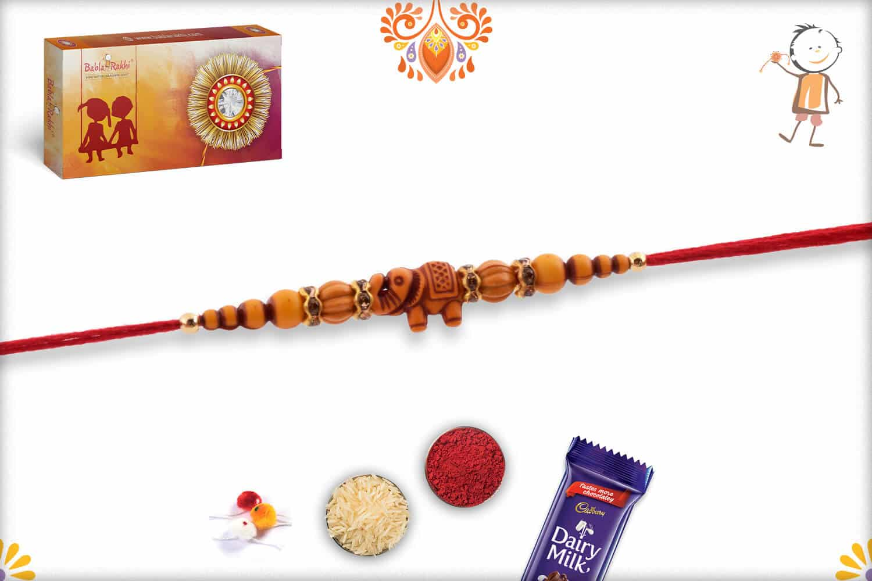 Simple Elephant Rakhi with Beads | Send Rakhi Gifts Online 2