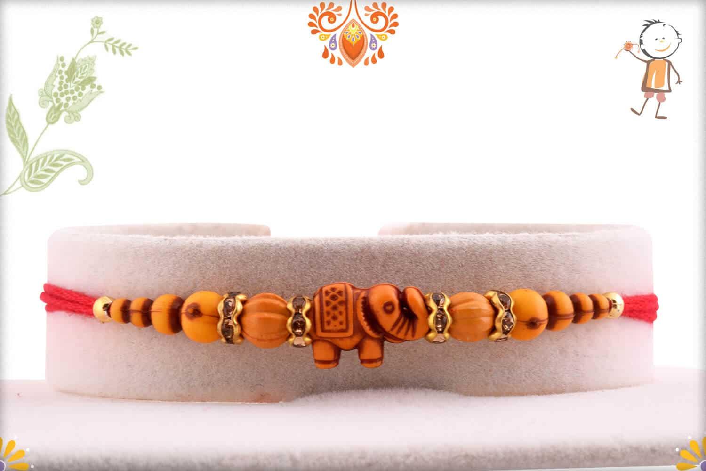 Simple Elephant Rakhi with Beads | Send Rakhi Gifts Online 1