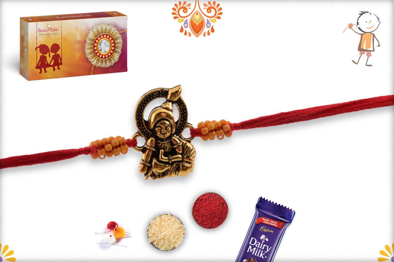 Antique Bal Krishna Rakhi with Small Beads | Send Rakhi Gifts Online 2