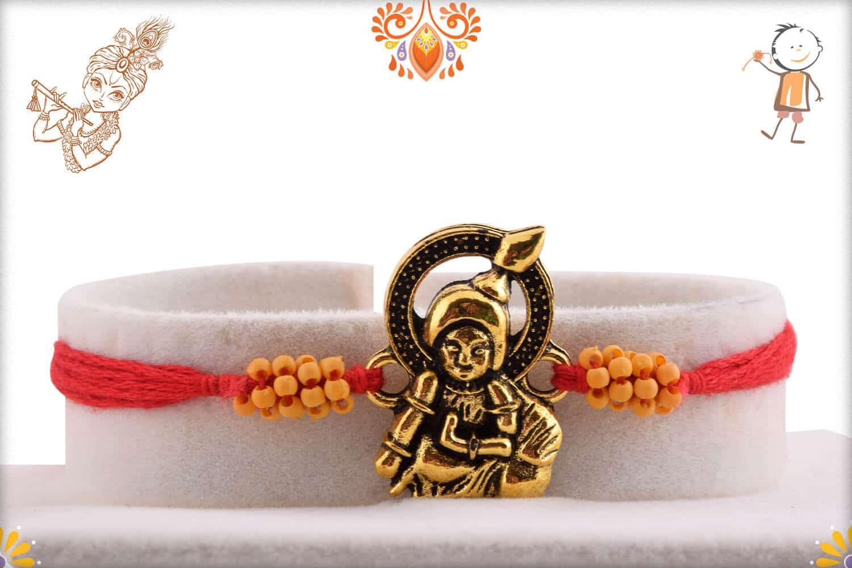 Antique Bal Krishna Rakhi with Small Beads | Send Rakhi Gifts Online 1