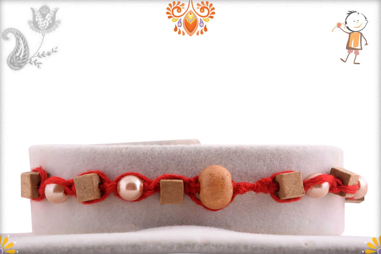 Uniquely Knotted Square Sandalwood and Pearl Rakhi 2