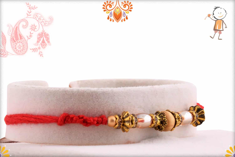 Designer Antique Beads with Sandalwood Beads Rakhi 2