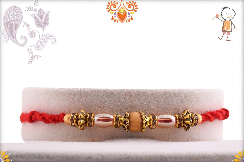 Designer Antique Beads with Sandalwood Beads Rakhi 1