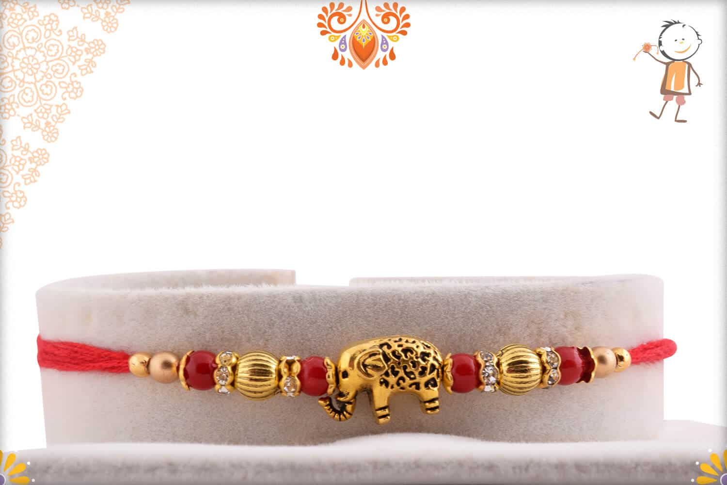 Exclusive Carved Elephant Rakhi with Designer Beads 1