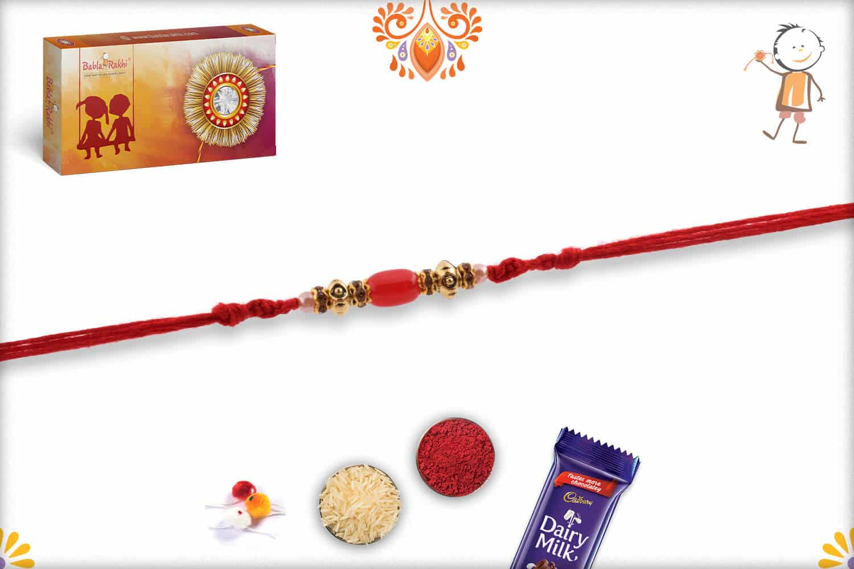 Oval Shape Red Bead Rakhi with Designer Beads | Send Rakhi Gifts Online 2