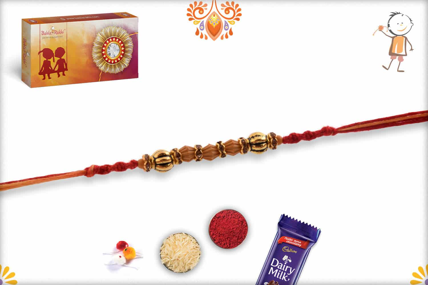 Delicate Bead Rakhi with Diamond Ring 2