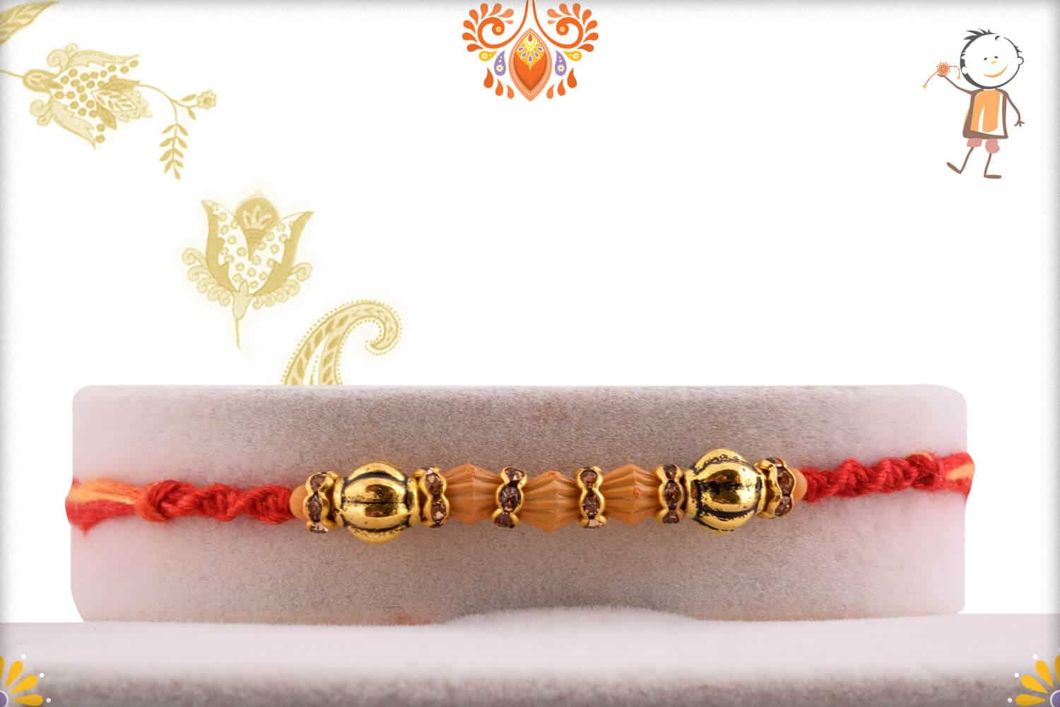 Delicate Bead Rakhi with Diamond Ring 1