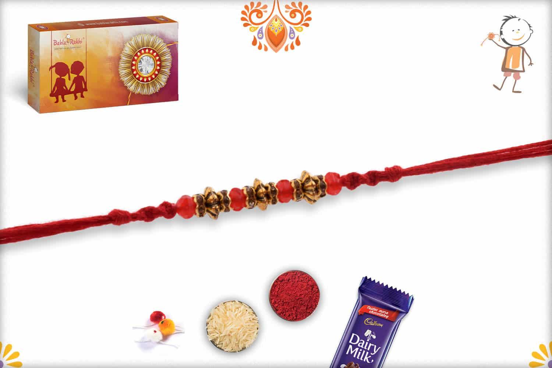 Designer Antique Beads Rakhi with Red Crystal Beads   Send Rakhi Gifts Online 3