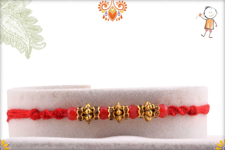Designer Antique Beads Rakhi with Red Crystal Beads   Send Rakhi Gifts Online 1