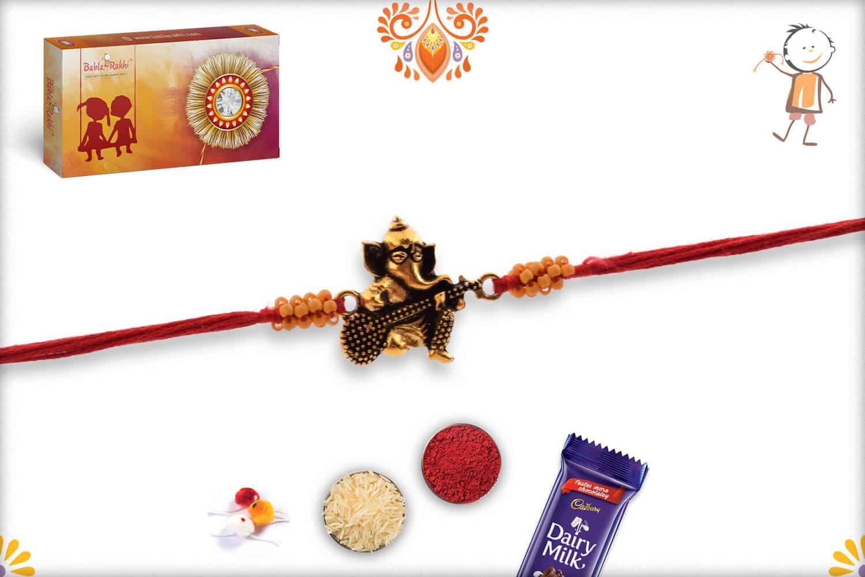 Antique Guitar Ganpati Rakhi with Small Beads | Send Rakhi Gifts Online 2