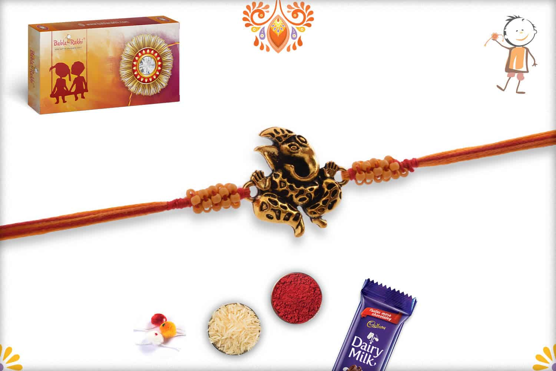 Antique Craved Ganpati Rakhi | Send Rakhi Gifts Online 2
