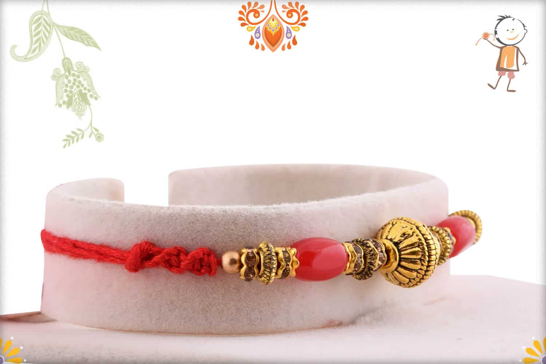 Designer Copper Bead Rakhi with Red Oval Beads | Send Rakhi Gifts Online 2