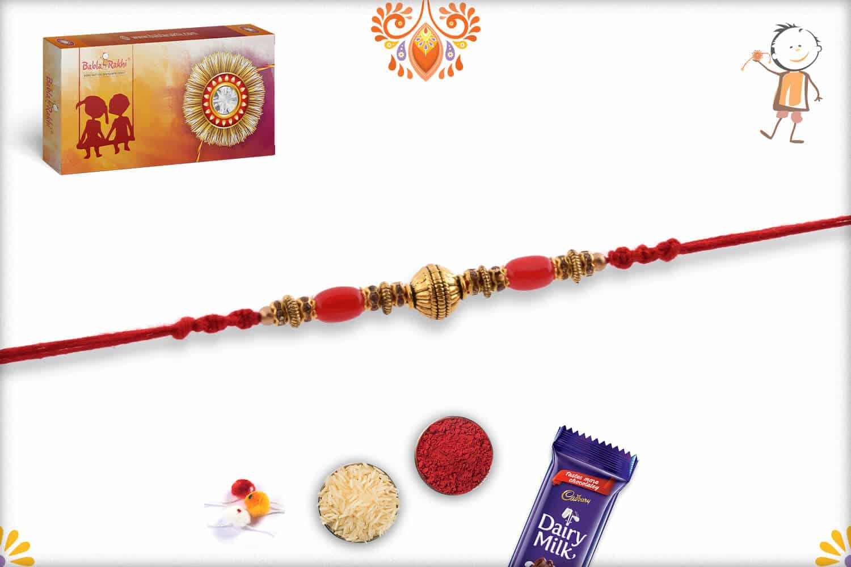 Designer Copper Bead Rakhi with Red Oval Beads | Send Rakhi Gifts Online 3