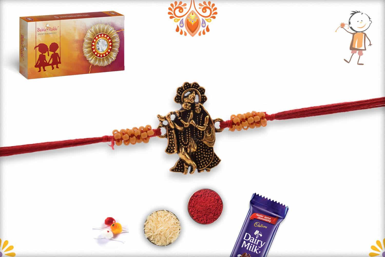 Beautiful Antique Radha-Krishna Rakhi with Small Beads 1