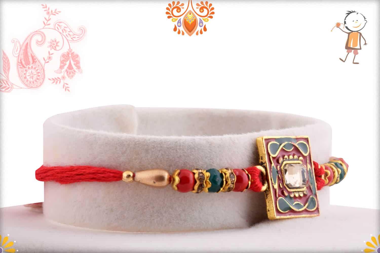 Square Meenakari Rakhi with Diamond and Beads 2
