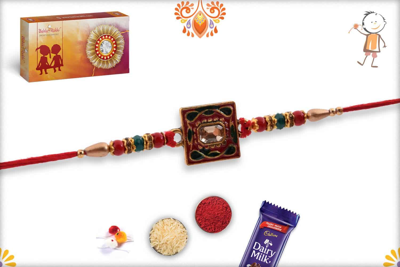 Square Meenakari Rakhi with Diamond and Beads 3