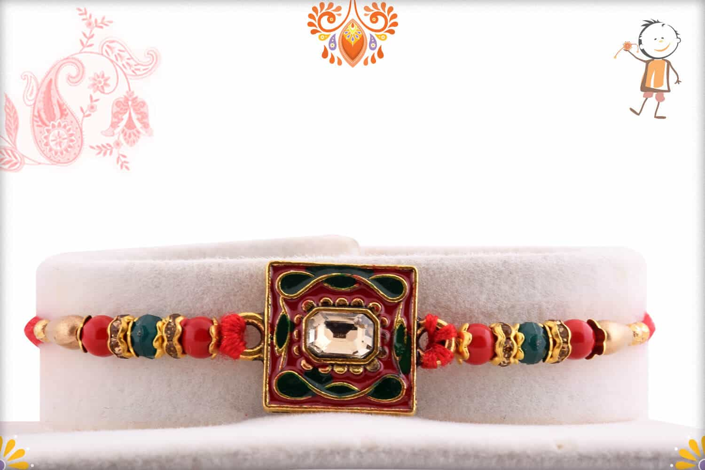 Square Meenakari Rakhi with Diamond and Beads 1
