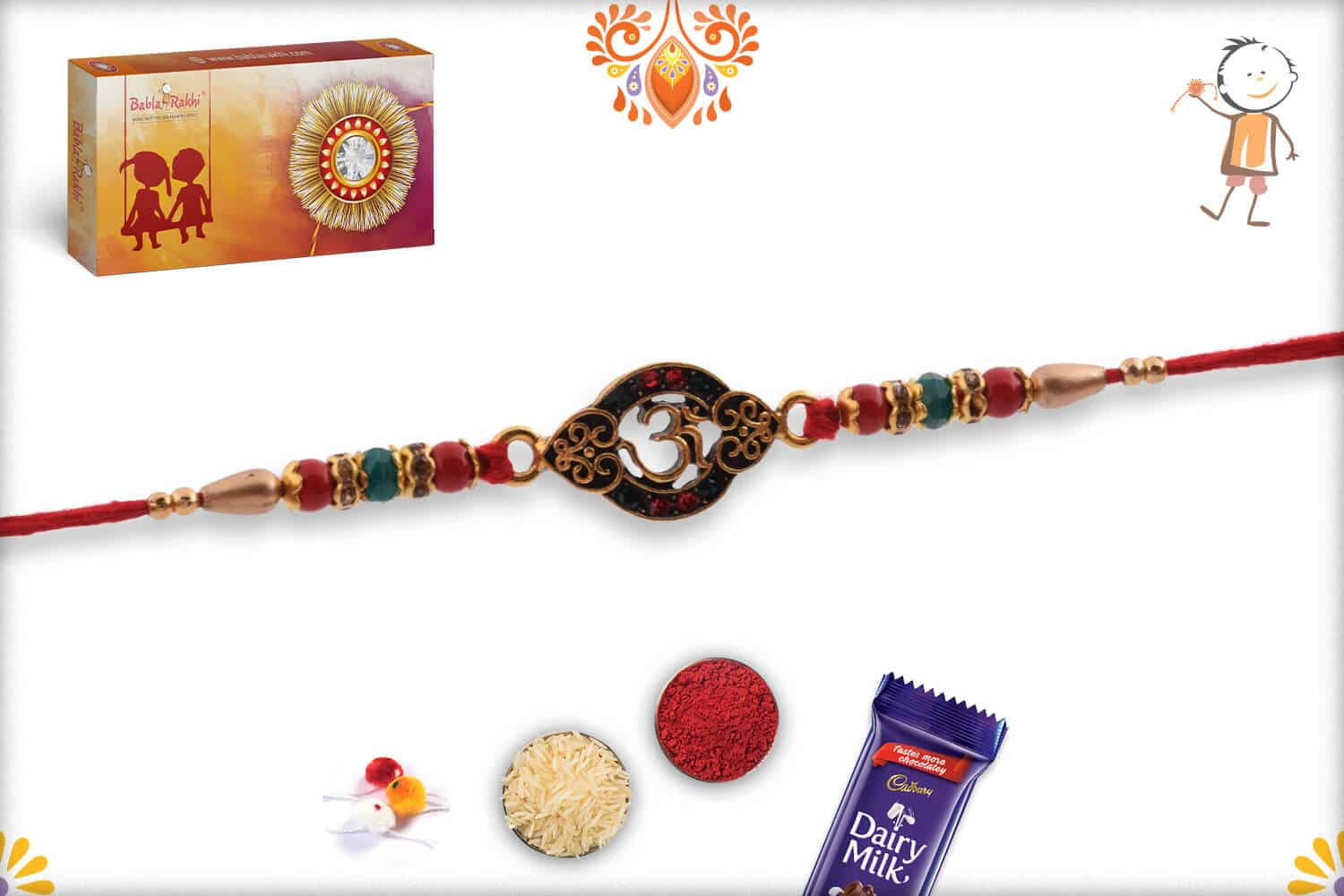 Unique OM Rakhi with Red-Green Beads 2
